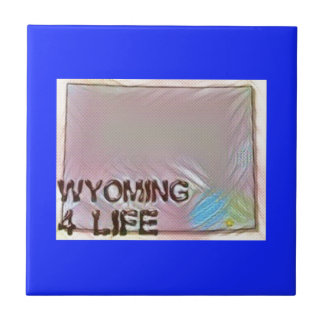 """Wyoming 4 Life"" State Map Pride Design Ceramic Tile"
