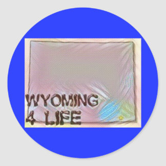 """Wyoming 4 Life"" State Map Pride Design Classic Round Sticker"