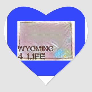 """Wyoming 4 Life"" State Map Pride Design Heart Sticker"