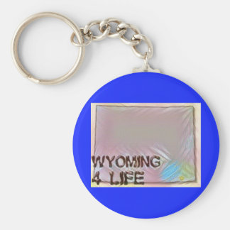 """Wyoming 4 Life"" State Map Pride Design Key Ring"