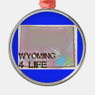 """""""Wyoming 4 Life"""" State Map Pride Design Metal Ornament"""