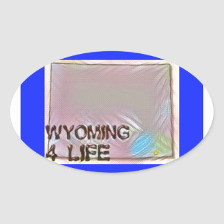 """Wyoming 4 Life"" State Map Pride Design Oval Sticker"