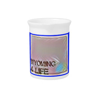 """Wyoming 4 Life"" State Map Pride Design Pitcher"