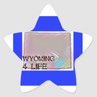 """Wyoming 4 Life"" State Map Pride Design Star Sticker"