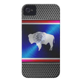 Wyoming brushed metal flag iPhone 4 case