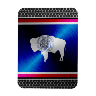 Wyoming brushed metal flag rectangular photo magnet