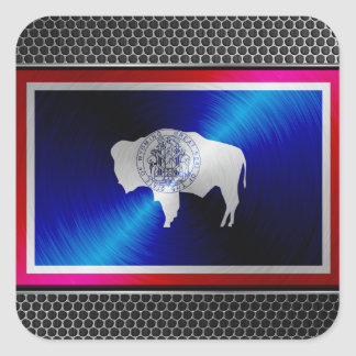 Wyoming brushed metal flag square stickers