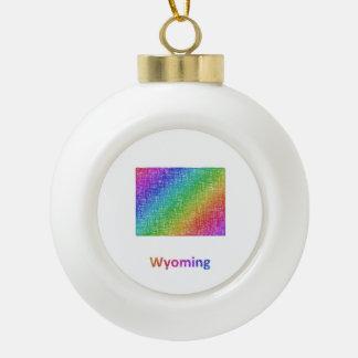 Wyoming Ceramic Ball Christmas Ornament