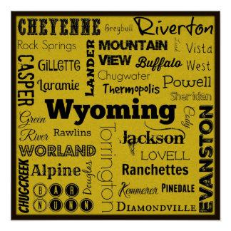 Wyoming cities typography art poster
