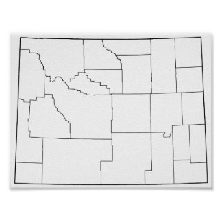 Wyoming Counties Blank Outline Map Poster