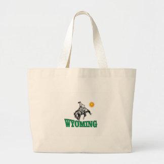 Wyoming cowboy large tote bag