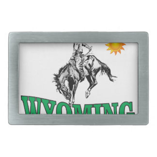 Wyoming cowboy rectangular belt buckle