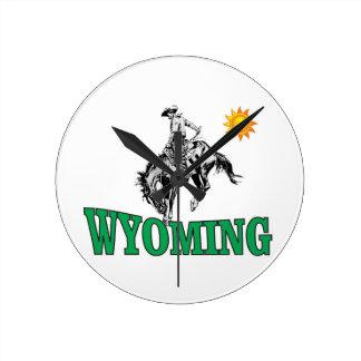 Wyoming cowboy round clock