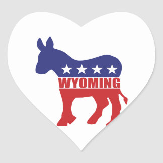 Wyoming Democrat Donkey Heart Stickers