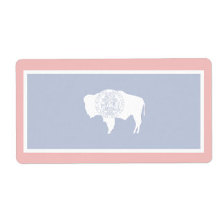 Wyoming Faint Flag Shipping Label