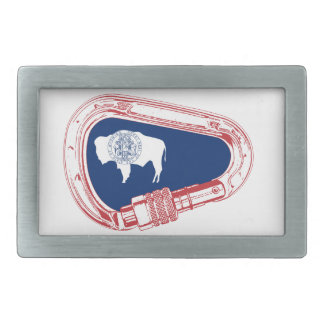 Wyoming Flag Climbing Carabiner Belt Buckle