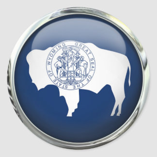 Wyoming Flag Glass Ball Round Stickers