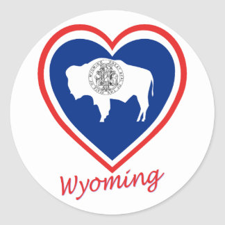 Wyoming Flag Heart Sticker