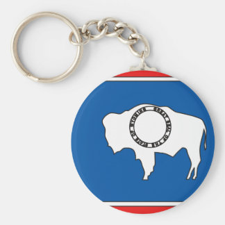 Wyoming Flag Map Key Ring