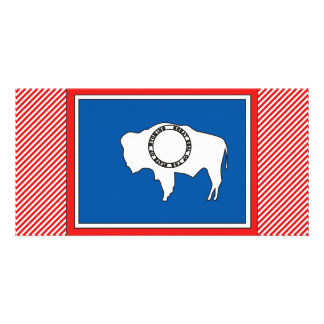 Wyoming Flag Map Photo Greeting Card