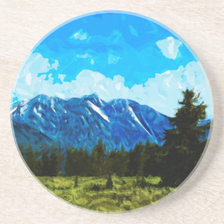 Wyoming Grand Teton Mountains Abstract Beverage Coasters