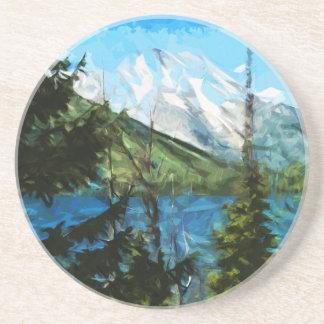 Wyoming Grand Teton Mountains Abstract Beverage Coasters