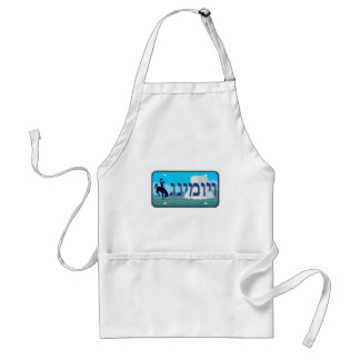 Wyoming License Plate in Hebrew Aprons