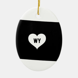 Wyoming Love Ceramic Ornament