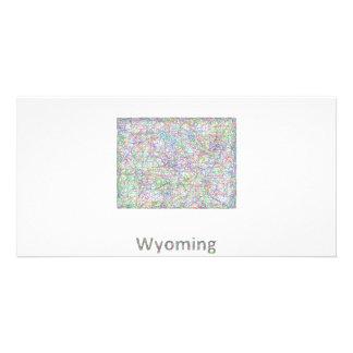 Wyoming map custom photo card