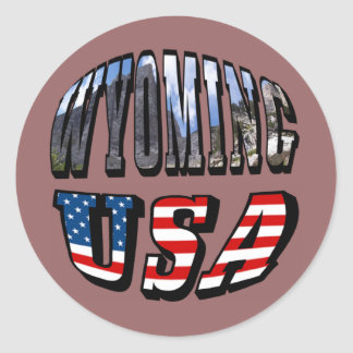 Wyoming Picture and USA Flag Text Round Stickers
