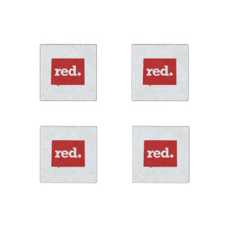 WYOMING RED STATE STONE MAGNET