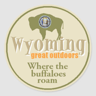 WYOMING ROUND STICKER
