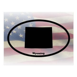 Wyoming Silhouette Oval Design Postcard