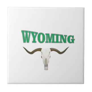 Wyoming skull ceramic tile