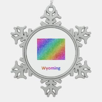 Wyoming Snowflake Pewter Christmas Ornament