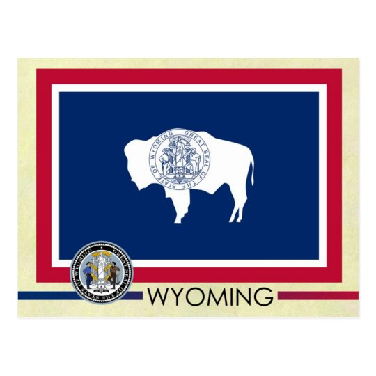Wyoming State Flag and Seal Postcard