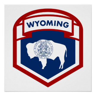 Wyoming State Flag Crest Shield Style