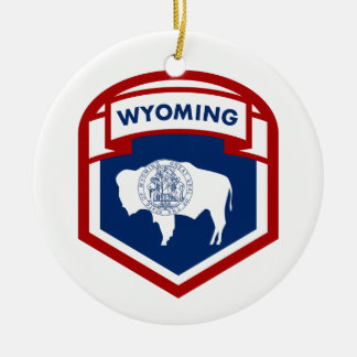 Wyoming State Flag Crest Shield Style Ceramic Ornament