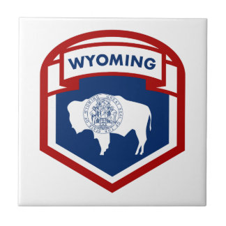 Wyoming State Flag Crest Shield Style Ceramic Tile
