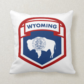 Wyoming State Flag Crest Shield Style Cushion