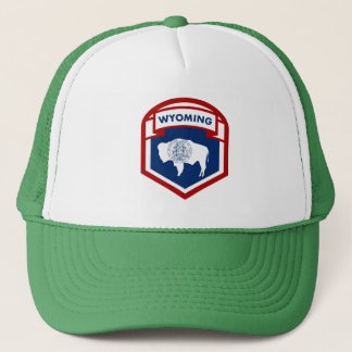 Wyoming State Flag Crest Shield Style Trucker Hat