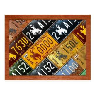 Wyoming State License Plate Map by Design Turnpike Postcard