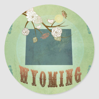 Wyoming State Map – Green Round Sticker