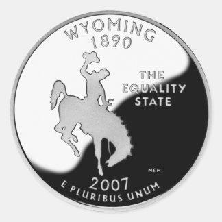 Wyoming State Quarter Round Sticker