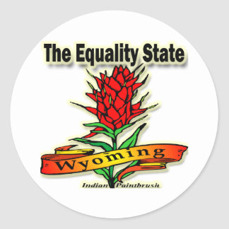 Wyoming The Equality State Indian Paintbrush Classic Round Sticker