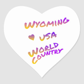 Wyoming usa world country, colorful text art heart sticker