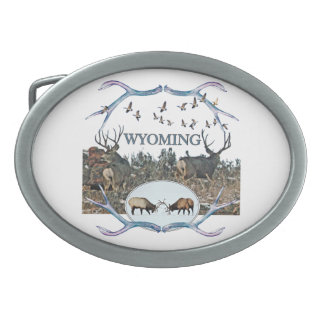 WYOMING wildlife Oval Belt Buckles