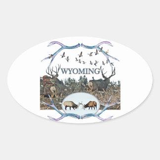 WYOMING wildlife Oval Sticker