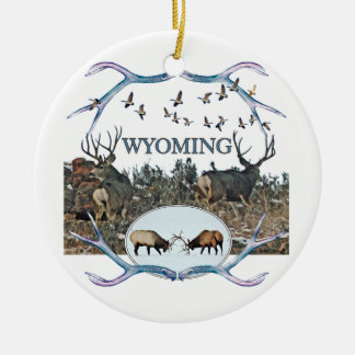 WYOMING wildlife Round Ceramic Decoration