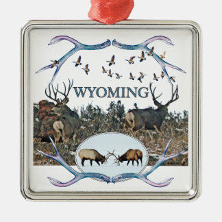 WYOMING wildlife Silver-Colored Square Decoration